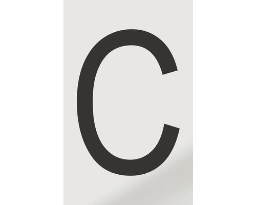 Autocollant lettre «C», alu noir imprimé, 60x100mm