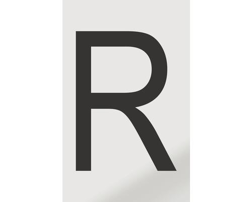 Autocollant lettre «R», alu noir imprimé, 60x100mm-0
