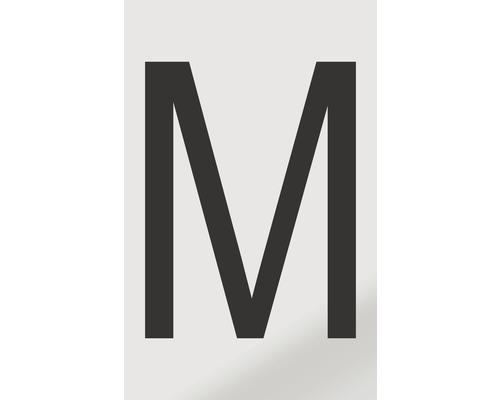 Autocollant lettre «M», alu noir imprimé, 60x100mm