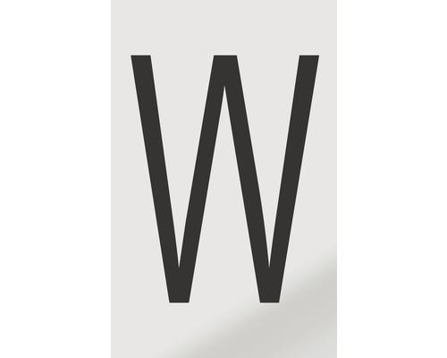 Autocollant lettre «W», alu noir imprimé, 60x100mm