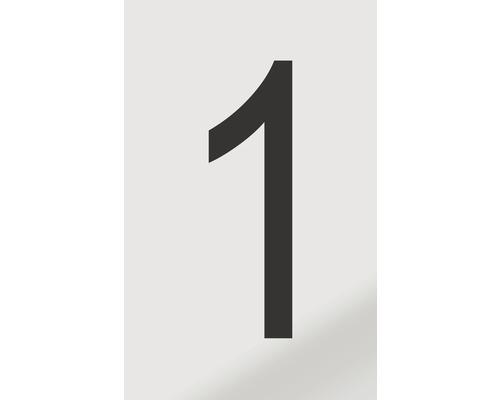Autocollant chiffre «1» en alu noir imprimé 60x100mm