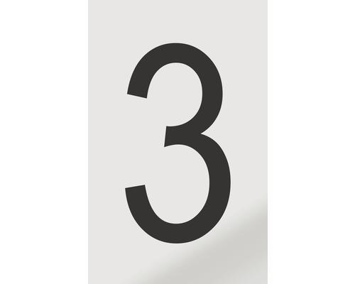 Autocollant chiffre «3» en alu noir imprimé 60x100mm