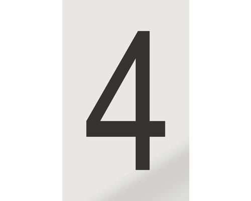 Autocollant chiffre «4» en alu noir imprimé 60x100mm