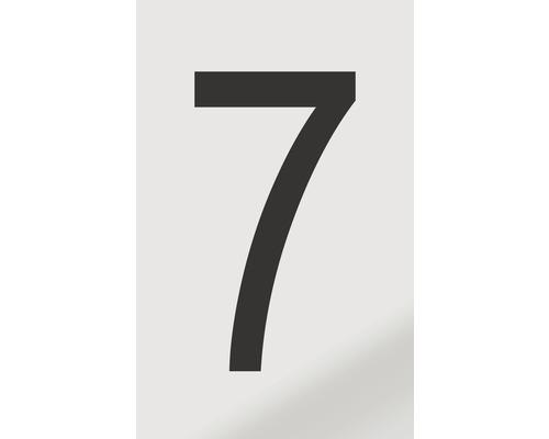 Autocollant chiffre «7» en alu noir imprimé 60x100 mm