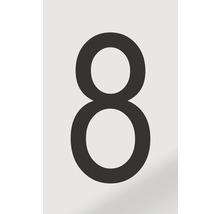 Autocollant chiffre «8» en alu noir imprimé 60x100 mm-thumb-0