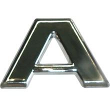 Autocollant 3D en relief portant la lettre «A», chrome, hauteur de police 25 mm-thumb-0