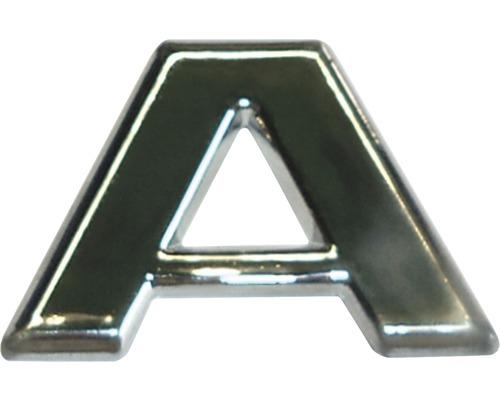 Autocollant 3D en relief portant la lettre «A», chrome, hauteur de police 25 mm-0