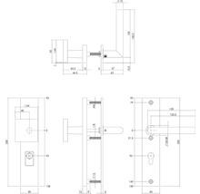 Poignée de sécurité Intersteel pour porte d''entrée poignée/béquille de porte d''entrée carré cylindre profilé 92 mm noir mat-thumb-1