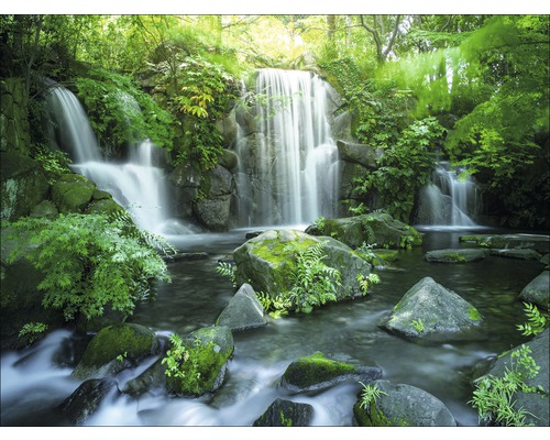 Tableau sur toile Forest & Waterfall I 57x77 cm