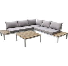 Loungeset Garden Place Deluxe aus Holz Aluminium 4-Sitzer 4-teilig weiss Eukalyptus geölt inkl. Auflagen-thumb-0