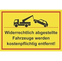 Panneau «Les véhicules garés sur des emplacements interdits seront enlevés par la fourrière!» 300x200mm-thumb-0