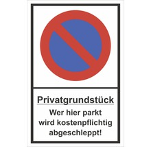 Panneau «Terrain privé - Tout véhicule stationnant ici sera mis en fourrière» 300x200mm-thumb-0