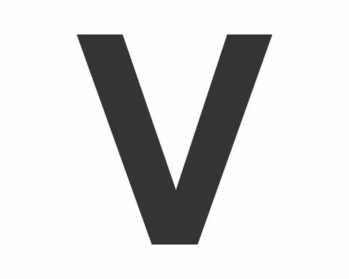 Autocollant lettre «V» noire 60 mm-0