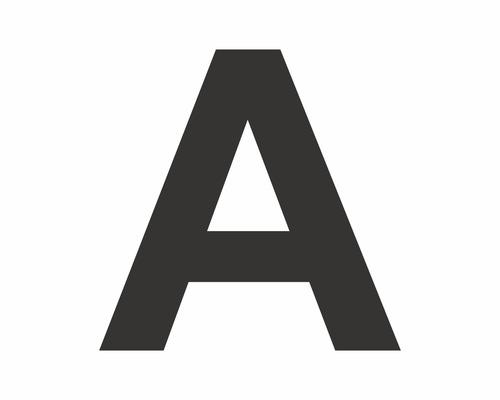 Autocollant lettre «A» noire 60 mm