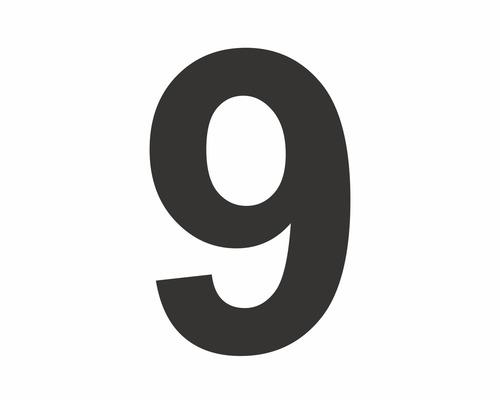 Autocollant chiffre «9» noire 60 mm-0