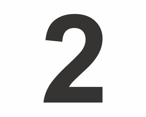 Autocollant chiffre «2» noire 60 mm