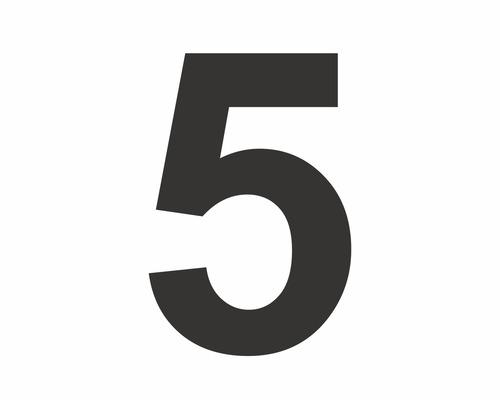 Autocollant chiffre «5» noire 60 mm