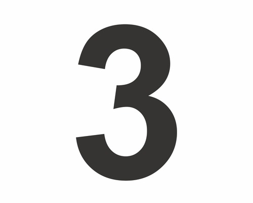 Autocollant chiffre «3» noire 60 mm
