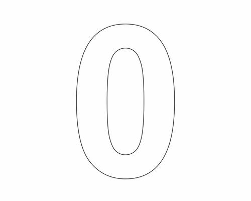 Étiquette portant le chiffre «0» blanche 60mm
