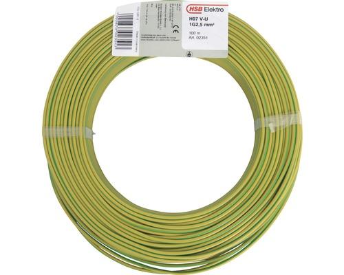 Conducteur H07 V-U 1x2,5mm² 100m vert/jaune