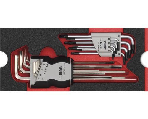 Plateau mousse taille S Industrial jeu de clés coudées 2 pièces
