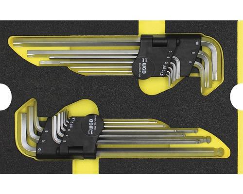Plateau mousse Taille M Industrial kits de clés coudées, 2 pièces