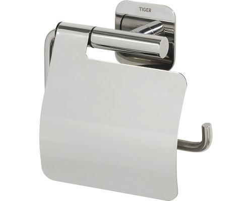 Porte-papier toilette Colar avec couvercle en acier inoxydable poli