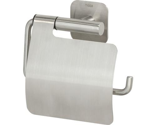 Porte-papier toilette Colar avec couvercle en acier inoxydable brossé