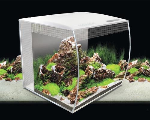 Aquarium Fluval Flex 57 l avec éclairage, filtre et télécommande sans meuble bas, blanc