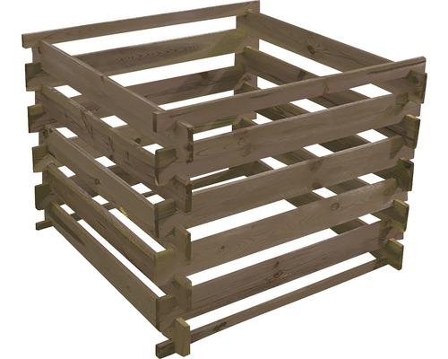 Silo de compostage en bois pour plate-bande surélevée 100x100x70cm traité en autoclave par imprégnation