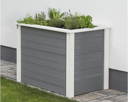 Jardinière surélevée 106x65x60 cm blanc-gris
