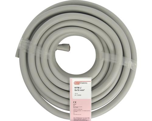 Câble électrique sous gaine NYM-J 5x10mm² gris 10 m