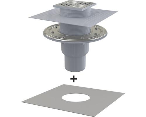 Évacuation au sol 105×105x50 mm avec siphon d'eau d'étanchéité, écoulement vertical, film de raccordement inclus