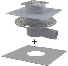Bodenablauf 105×105x50 mm mit Sperrwassersiphon Ablauf horizontal incl. Anschlussfolie-thumb-0