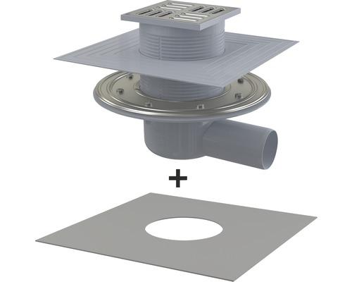 Évacuation au sol 105×105x50mm avec siphon d'eau d'étanchéité, écoulement horizontal, film de raccordement inclus