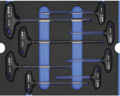 Plateau mousse Taille L Industrial clés coudées avec poignée transversale, 8 pièces