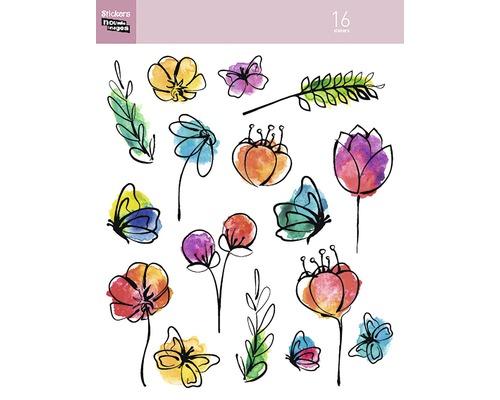 Mini-autocollants 311 fleurs 16 pces