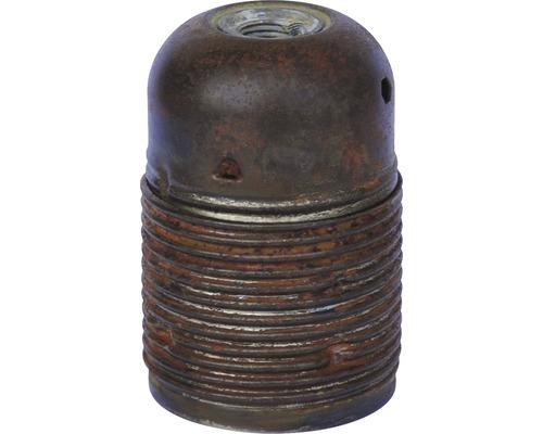 Culot de lampe E27 métallique, à filetage long vintage/argent