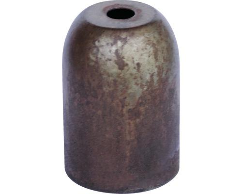 Culot de lampe métallique, vintage patine/rouille