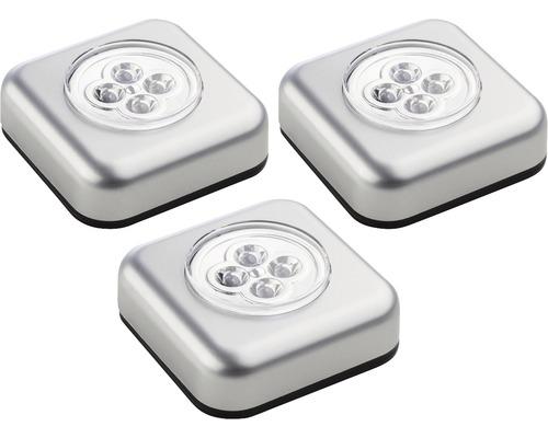 Lampe Touch Light à LED à piles argent 68x68 mm