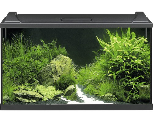 Aquarium EHEIM aquaproLED 126 avec éclairage à LED, filtre, chauffage, thermomètre, filet sans meuble bas, noir