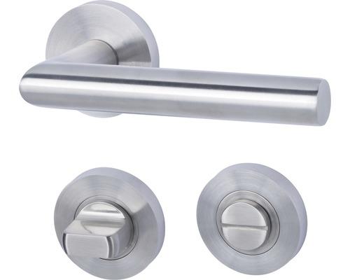 Poignée sur rosace Solid 10 acier inoxydable/satiné WC pour portes de salle de bains et de WC