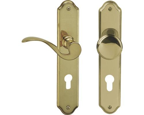 Poignée sur plaque longue Neal laiton/poli cylindre profilé avec bouton + poignée pour portes d'appartement à droite