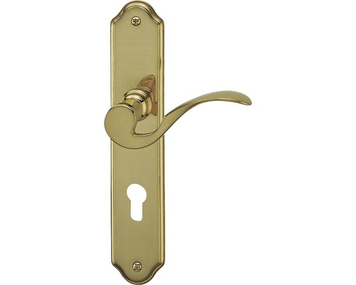Langschildgarnitur Neal messing/poliert PZ mit 2x Drücker für Wohnungseingangstür links/rechts