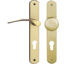 Poignée sur plaque longue Amos laiton/bruni/satiné cylindre profilé avec bouton + poignée pour portes d'appartement à droite-thumb-0