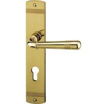 Poignée sur plaque longue Sale laiton/poli cylindre profilé avec poignée x2 pour portes d'appartement gauche/droite-thumb-0