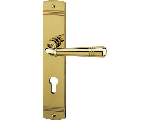 Langschildgarnitur Sale messing/poliert PZ mit 2x Drücker für Wohnungseingangstür links/rechts