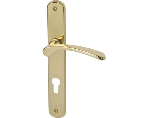 Poignée sur plaque longue Amos laiton/poli cylindre profilé avec poignée x2 pour portes d'appartement gauche/droite