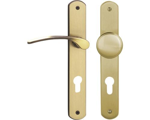 Poignée sur plaque longue Amos laiton/bruni/satiné cylindre profilé avec bouton + poignée pour portes d'entrée à gauche