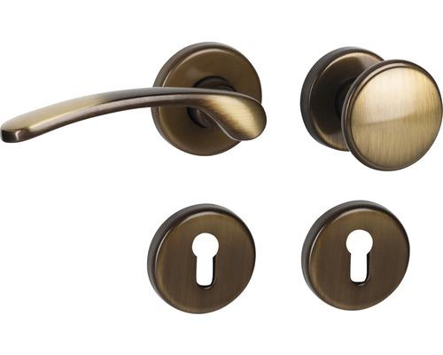 Poignée sur rosace Amos laiton/bruni/satiné cylindre profilé avec bouton + poignée pour portes d'entrée à droite